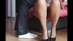 Cum on beige patern stockings and black high heels's Thumb