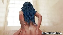 Perfect ebony beauty Julie Kay bouncing on big hard dick
