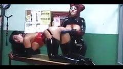 Full on latex fetish sex in jail