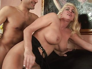 Blonde MILF sucks guy's dick while brunette licks her wet cunt