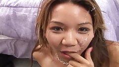 Squealing Asian Girl Gets A Facial