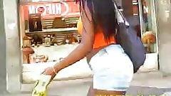 Brazilian black girl in short jeans... Nice butt!!