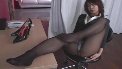 Asian mature solo black bodystocking tease