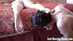 Cherry sneaks in and licks Lady's sexy feet
