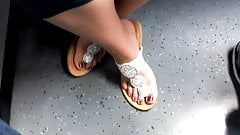 perfect soft feet from older girl in sandals