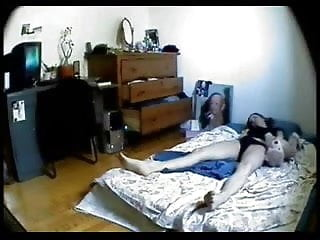 Hidden cam in bedroom of my girlfriend caught her masturbating