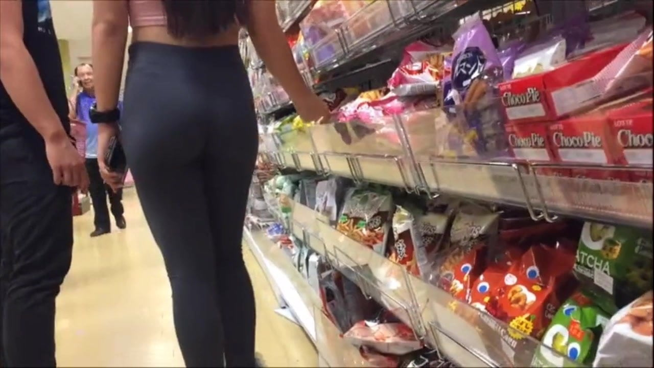Mall Teen Ass Chased caught busted by Latina Asian large booty