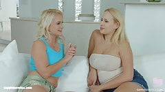 Lesbians Angel Wicky and Rosella Visconti in Let's talk