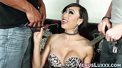 Asian trans babe spitroasted by hung studs in threesome