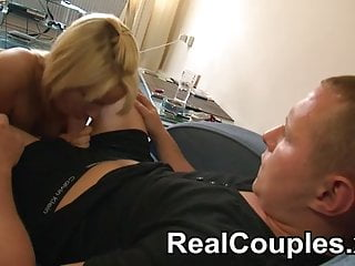 Hardcore blonde wife - Husband fucks his blonde wife wearing fishnets
