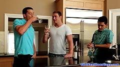 Muscle jocks assfucking in threesome scene