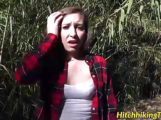 Stranted teen sucked dick and gets fucked in the woods