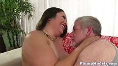 Bigtitted ssbbw pounded hard on the couch