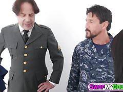 Teenage slut Athena Rayne gets drilled by stepdads friend