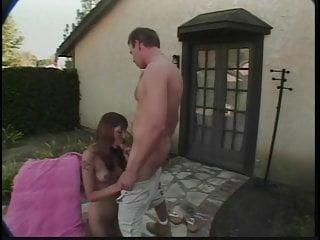 Sexy babe Brooke Edwards sucks and fucks hard cock outside