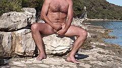 strocking my cock under the croatian sun