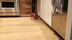 Red heels ripped leggings sexy legs