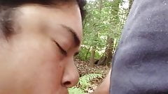 cheating latina wife sucking cock in woods at rest area prt1