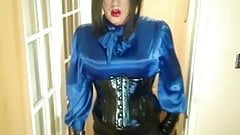 Candi in satin and pvc outfit