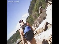 Nat follows a nice arse down to the beach