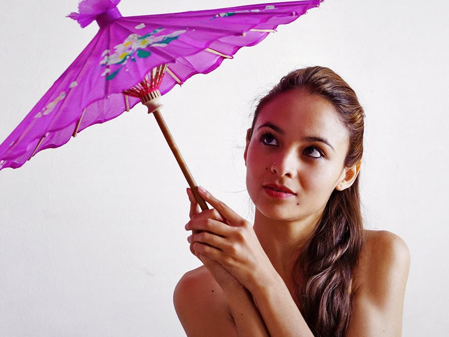 Fedra toying her pussy with a purple parasol - 1 2