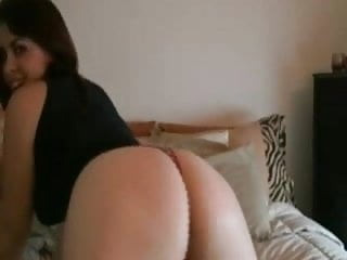Snorting lines off her ass - Big ass brunette shows off her ass