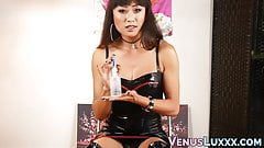 Ladyboy Venus Lux talks dirty in leather and shows off toys