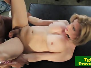 Preview 4 of Tgirl rides black dick in interracial couple