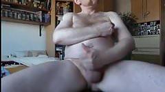 Sexy daddy bear stroking his big dick
