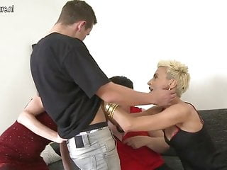 Granny and two mature moms sharing young boy's cock