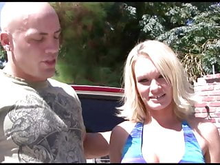 Guy licks blonde's nipples before she rides him