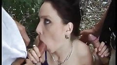 2 Horny Dude fuck Daria in Forest
