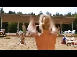 Nude Busty Russian Woman on the Beach