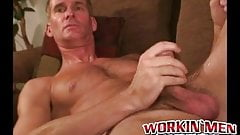 Gay mature pervert tugs his erect dick and sprays jizz