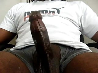 Thick Black Oily Cock Nice FAT thick white cum load