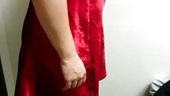Wife posing in a red nightie