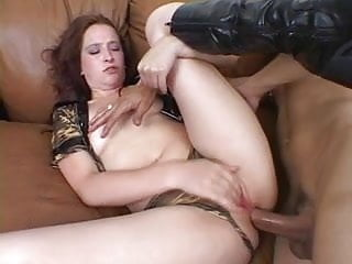 Girl with a big ass receives anal sex from guy on sofa