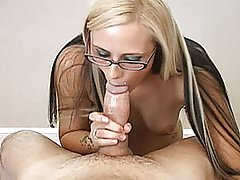 Cute amateur girlfriend with glasses full blowjob with CIM