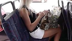 Upskirt Blonde Black Thong on Bus's Thumb