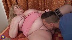 XXL mature mom seduce lucky son
