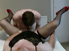 TVROSE Crossdresser get Oral and rimming from slave
