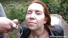 Dirty redhead dogging sucking strangers cocks in public