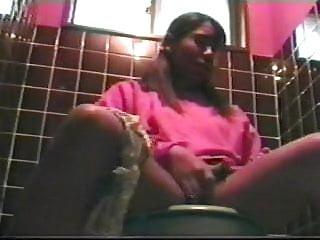 Black teen caught masturbating on the toilet. hidden cam