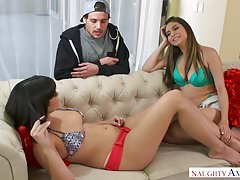 Big natural tits and fat ass threesome at Naughty America!