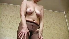 Hot mature masturbates in pantyhose orgasms