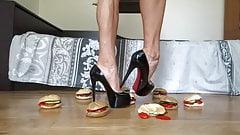 Crushing hamburgers under my high heel pumps