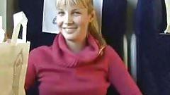 Euro teen Sucking Cock in Train Public Blowjob