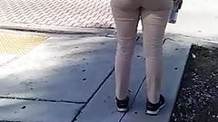 Candid white latina booty 2 at bus stop