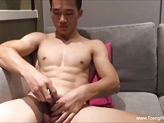 Muscle Hunk Playing Cock