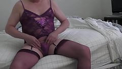 Violet cami and violet stockings